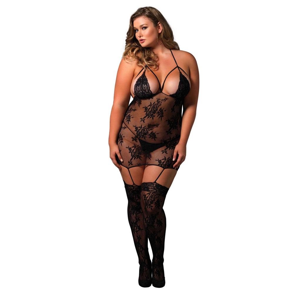 Leg Avenue Strappy Suspender Bodystocking UK 18 to 22