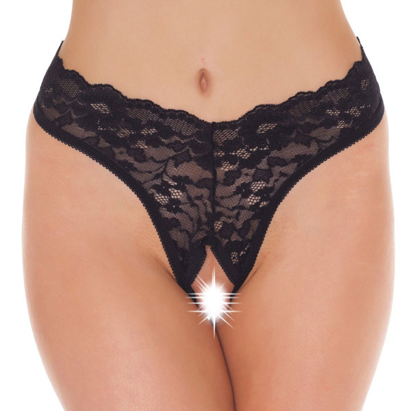 Black Lace Open Crotch GString